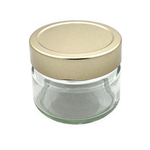 150ml Ergo Glass Jar 70MM W/Gold Cap   SKU:BSJ-028