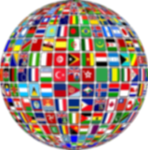 A picture of multiple flags in a globe shape.