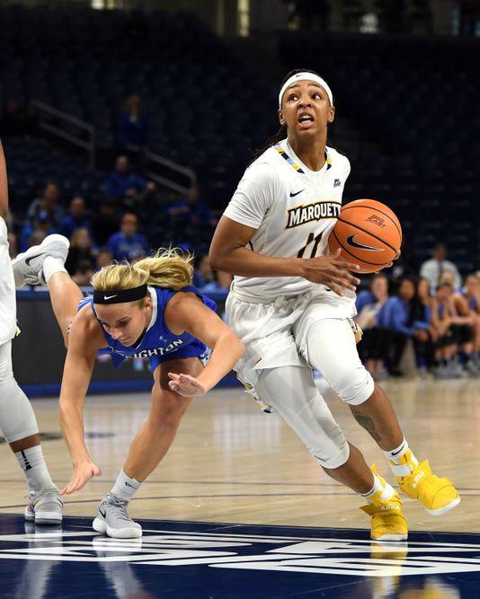 Allazia Blockton Drives Towards The Basket