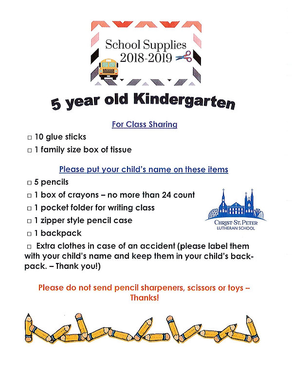 christ-stpeter | K5 School Supply List