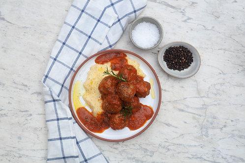 Meatballs & Cheesy Polenta