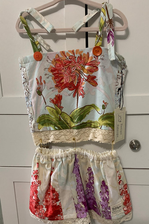 Girls 2 Piece Skirt and Spaghetti Strap Tube Top Garden Print
