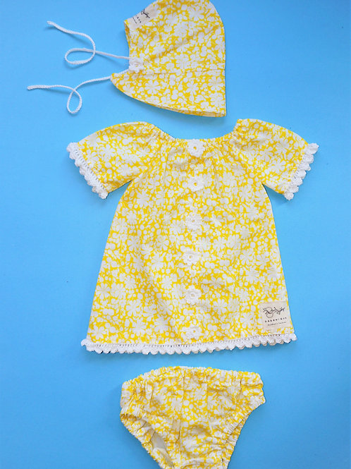 Girls Sunshine Yellow Dress with Matching Hat and Diaper Cover