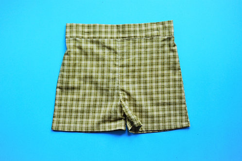 Boys Checkered Shorts - Olive and Beige (size 12 months)