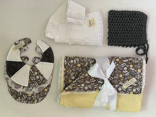 Layette- Girls Grey, Yellow and White Grove Print