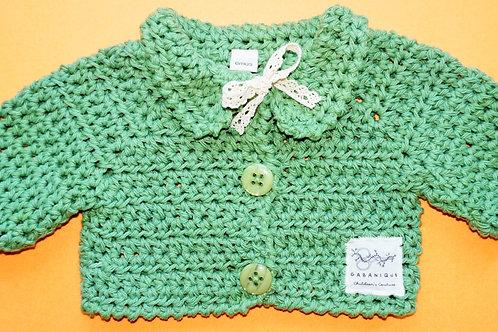 Girls Crocheted Cardigan Avocado Green