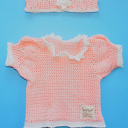 Girls Pink Sweater with White Trim