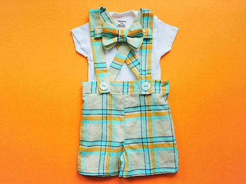 Boys Suspender Shortalls Ensemble - Plaid short/bow tie/onesie (size 3 months)