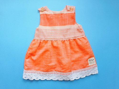 Girls Dark Peach Striped Dress