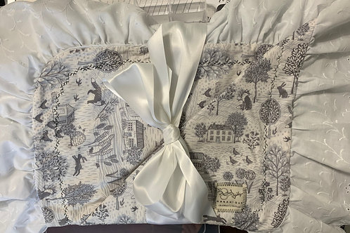 Grey and White Bunny Pattern Reversible Blanket