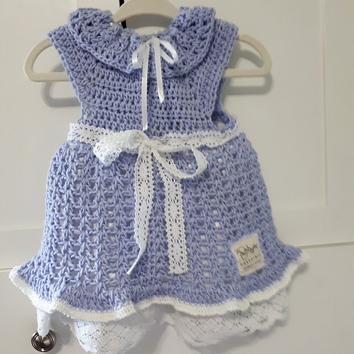 Girls Crocheted and Lined Lavender Coloured Dress