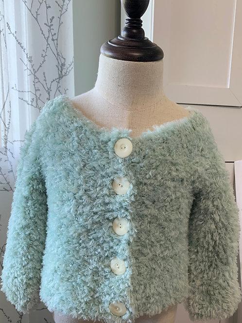 Girls Fur Cardigan Mint Green