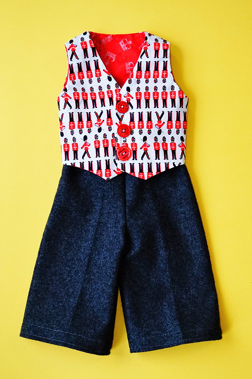 Boys British Themed Waistcoat and Pants (size 3 months)