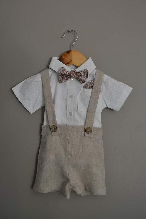 Boys Little Mister 4-Piece Ensemble - Linen Shortalls & Shirt (size 3 months)