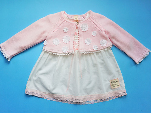 Girls Dress and Matching Cardigan -White Dress/Pink Cardigan -size12 months