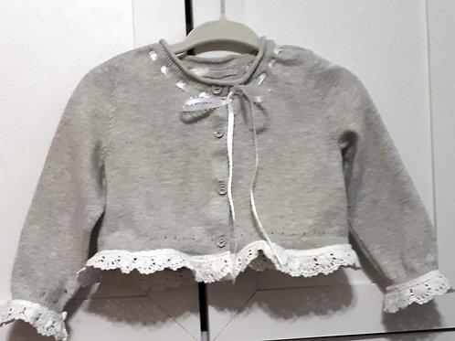Girls Cardigan - Grey with lace trim
