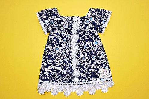 Girls  Navy Flower Dress
