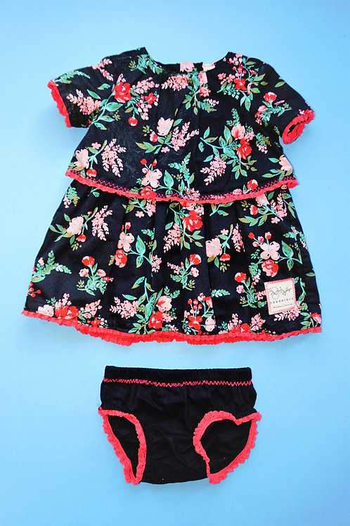Girls 2pce Dress -Black floral 2 tiered dress with Matching Panties