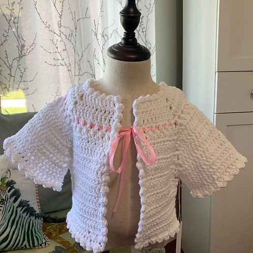 Girls Crochet Cropped Cardigan in White with Pink Ribbon