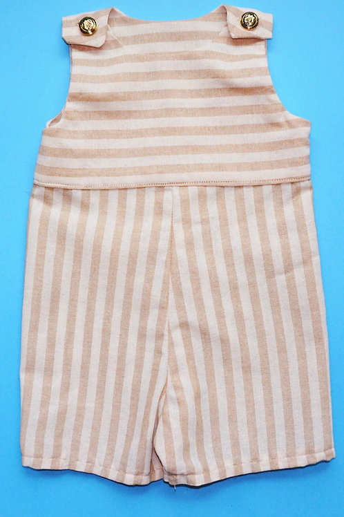 Unisex Tan & Beige Striped Romper