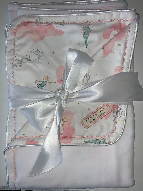 Peter Pan Themed Pink and White Blanket