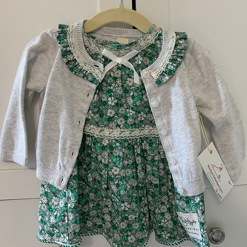 Girls Upstyled Green Floral Print Sundress with Coordinating Sweater