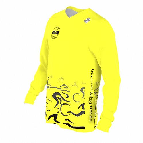 Lauf-Shirt langarm V-Kragen neongelb m/w