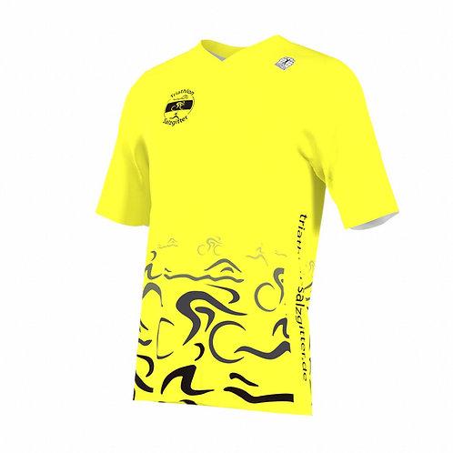 Lauf-Shirt kurzarm V-Kragen neongelb m/w