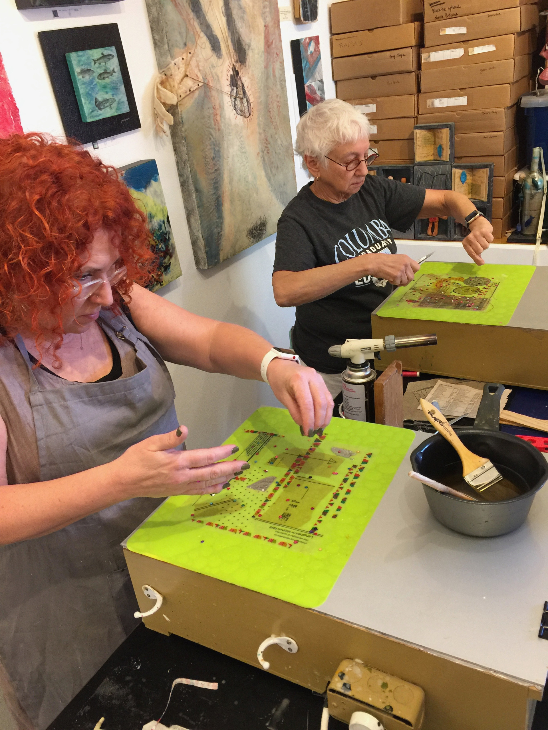 Deb and Fran at Paper Collage with Encaustic