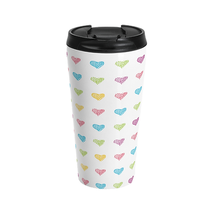 """Colored Hearts""  White Stainless Steel Travel Mug"