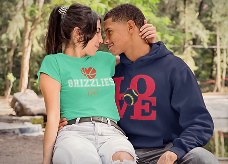 Loving Couple wearing BluffCity Tee's Griz Love Tee and Baseball love hoodie from the Love Collecton