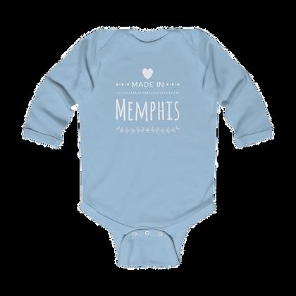 """""""Made in Memphis"""" Long Sleeve Onesie"""