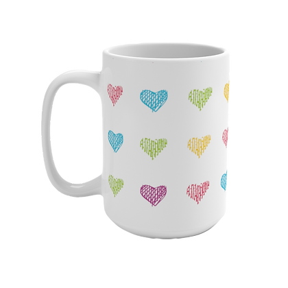 """Colored Hearts"" White Mug - 15oz"
