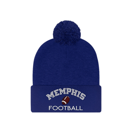 """""""Memphis Football"""" Pom Pom Beanie"""