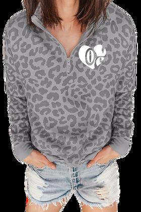"""Love"" Leopard Zipped Collar Sweatshirt"