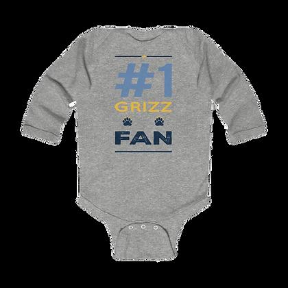 """""""#1 Grizz Fan"""" Long Sleeve Onesie"""