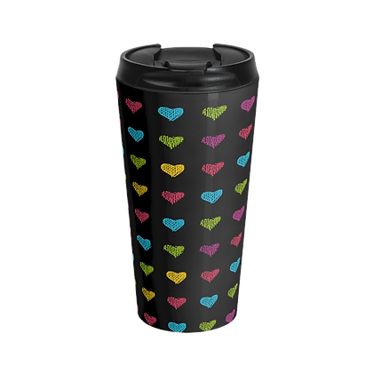 """Colored Hearts""  Black Stainless Steel Travel Mug"