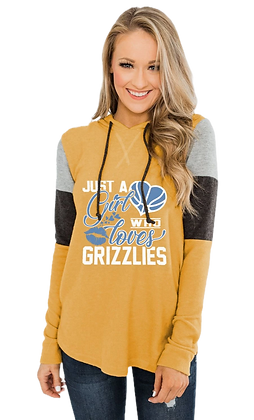 """""""Girl Who Loves Grizzlies"""" Women's Color Block Patchwork Hoodie"""