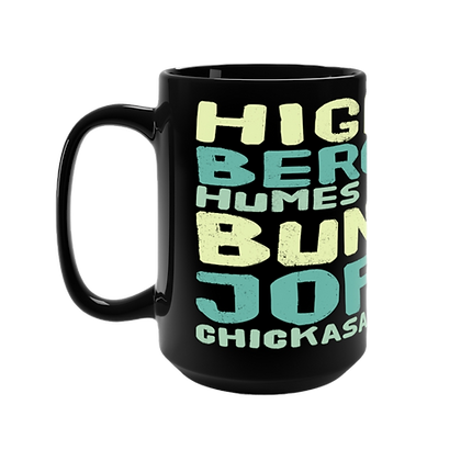 """ Blue - East Memphis"" Black Mug - 15oz"