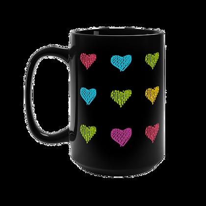 """Colored Hearts"" Black Mug -15oz"