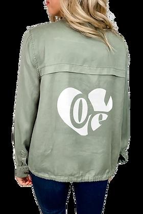 """Love"" Fabric Woven Jacket"