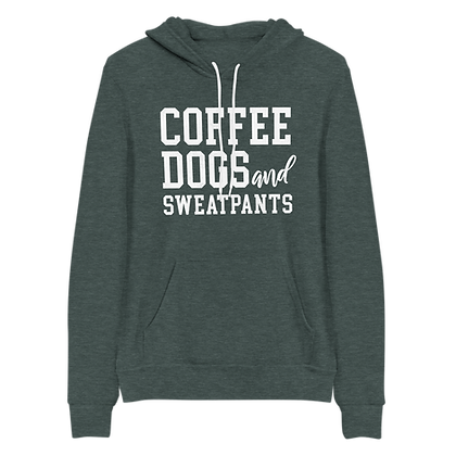 """Coffee, Dogs, & Sweatpants"" Fleece Pullover Hoodie"