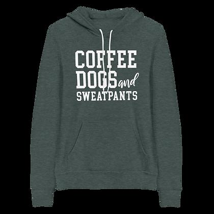 """Coffee, Dogs, & Sweatpants"" Fleece Pullover Hoodie"
