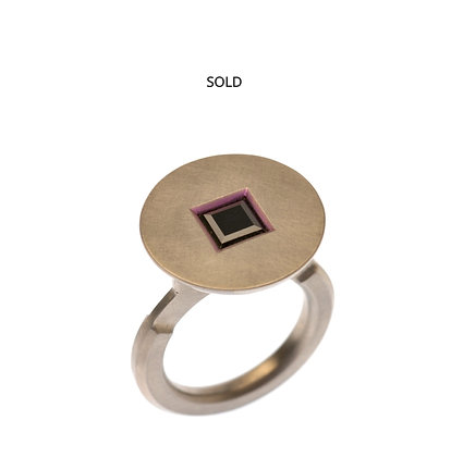 Black Square Spinel Ring