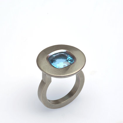 Blue Topaz Cushion Ring
