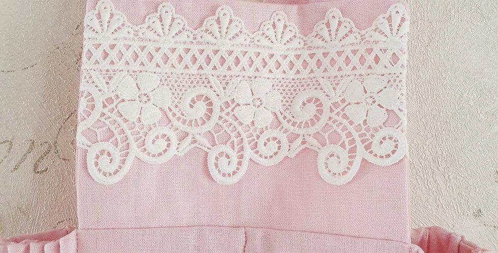 Pink Linen Romper