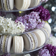 Floral Macaron Tower With Fresh Lilac Blooms