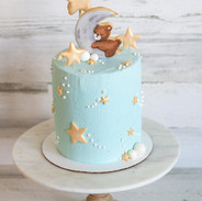 Sleeping Bear On The Moon Baby Shower Cake