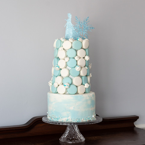 Frozen Cake and Macaron Tower