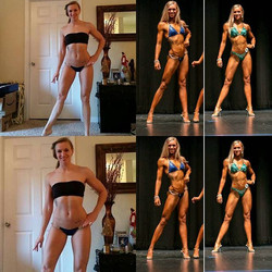 The girl on the left had no clue that 7 months, 12 lbs, and 11¿ later she was going to _give figure